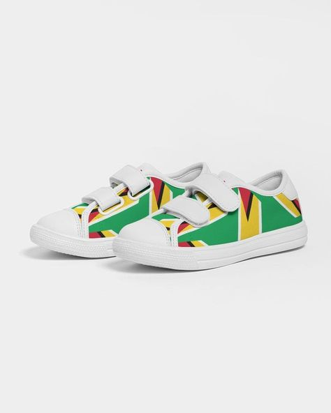 Product Details Ditch the laces and get our Guyanese Swag Guyana Flag Artistic Kids Velcro Sneaker, for a durable, comfy shoe. Equipped with easy hook and loop closure, you'll be out the door in no time. Breathable lining, soft insole Faux leather toe cap Velcro closure Padded collar, tongue Printed, cut, and handmade Fit Tip Runs TTS See size chart Material & Care Upper: 100% Polyester, Canvas Outsole: Ethylene-vinyl acetate (EVA), rubber Spot clean only Imported