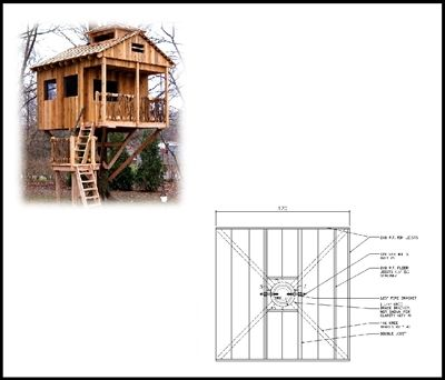 10 Square Treehouse Plan Standard Treehouse Plans Attachment Hardware Tree House Plans Tree House Building A Treehouse