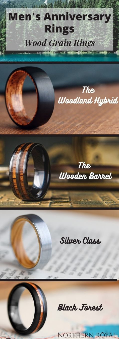 The perfect Christmas gift or anniversary gift for outdoorsy type of husband. A collection of mens wood wedding rings! My husband could really use a new one. His is all scratched. It's hard to find your husband a gift that has meaning... Well I just found the perfect gift that does. #mensgifts #Christmasgifts #husbandgifts #Christmasmen