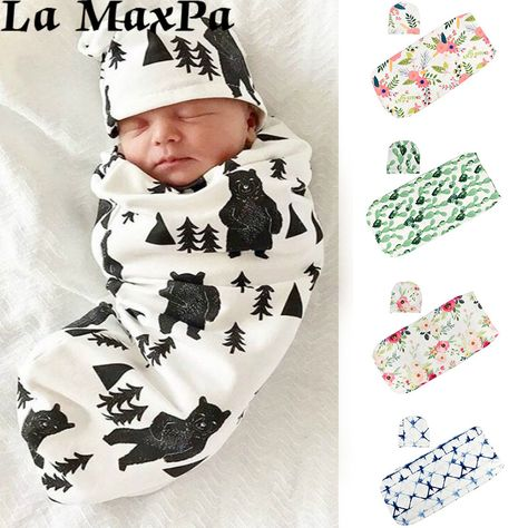 Newborn Baby Girl Boys Infant Cotton Swaddle Blanket SleepingBag Hat Muslin/'wrap
