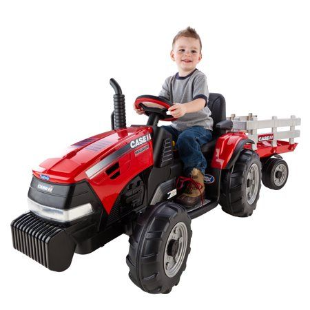 Peg Perego Case Ih Magnum Tractor And Trailer 12 Volt Battery Powered Ride On Walmart Com Tractors For Kids Ride On Toys Tractors