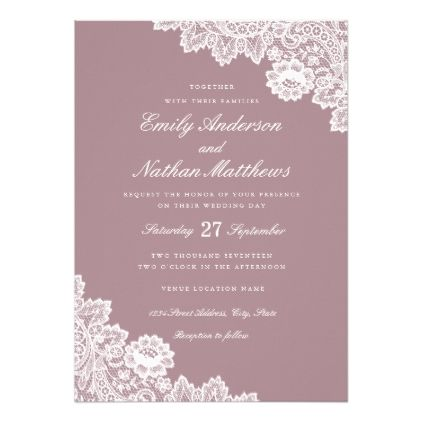 Elegant Dusty Pink White Lace Wedding Invitation Zazzle Com Lace Wedding Invitations White Lace Wedding Invitations Blue Wedding Invitations