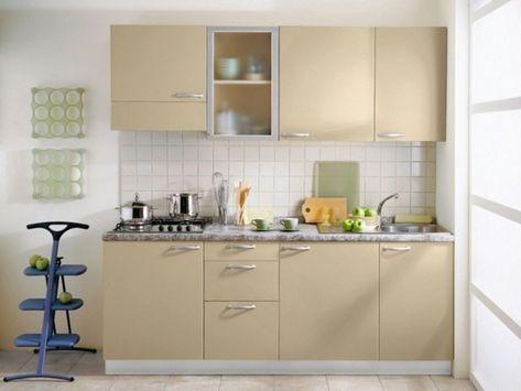 Lemari Dapur Minimalis Model Terbaru Warna Krem Bahan Hpl