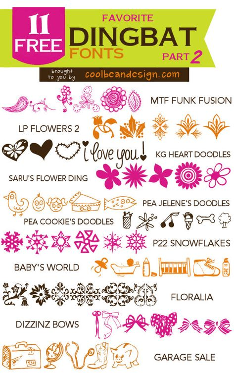 11 Favorite Free Dingbat Fonts of Cool Bean Design ~~ {11 free fonts w/ easy download links}