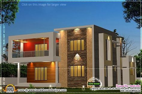 5 Bedroom Contemporary House With Plan In 2020 Kerala House Design Modern Contemporary House Plans Duplex House Design
