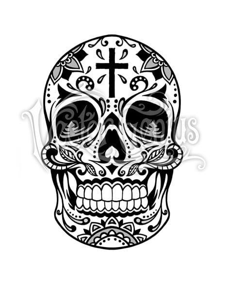 Decorative Sugar Skull With Cross Clipart Vectorgenius Sugar Skull Tattoos Skull Tattoos Sugar Skull Art Drawing