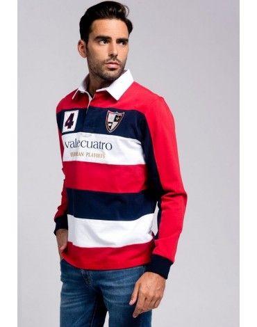 749c5cfc8b7 Valecuatro polo rugby rayas rojo Valecuatro polo de manga larga tipo rugby  con rayas horizontales en rojo, blanco y azul marino. Polo de algodón con  escudos ...