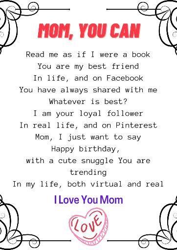 Happy Birthday To Mom Poem for Mom's Birthday . #birthday #birthdaygift #birthdaycelebration #prilaga #bday #bestoftheday #birthdays #poema #poemas #poems #poem #poemasdeamor #poemoftheday