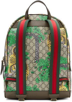 ef082c1931a2 GUCCI GG Supreme Monogram Small Tian Print Backpack Red ❤ liked on Polyvore  featuring bags