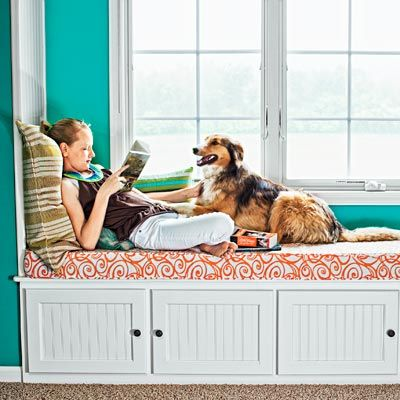 Photo: Bob Stefko | thisoldhouse.com | from All About Window Seats  Doors or drawers for window seat storage so you don't have to lift everything to reach what's inside.