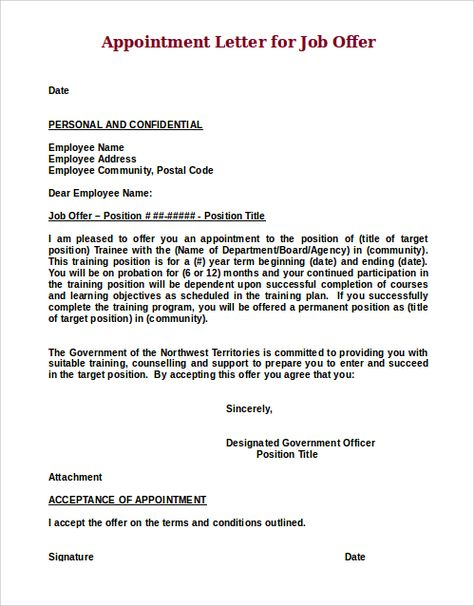 Job Offer Acceptance, by Employee - How to write a Job Offer - employment offer letter