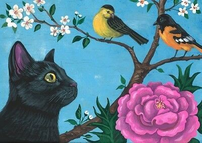 1.5x2 DOLLHOUSE MINIATURE PRINT OF PAINTING RYTA 1:12 SCALE BLACK CAT SPRING ART