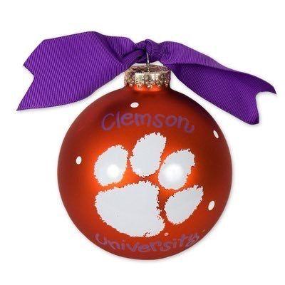 Clemson Tigers  Ornament Tiger Paw Purple  Paw