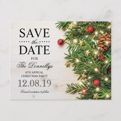 holiday christmas party save the date announcement postcard in 2018