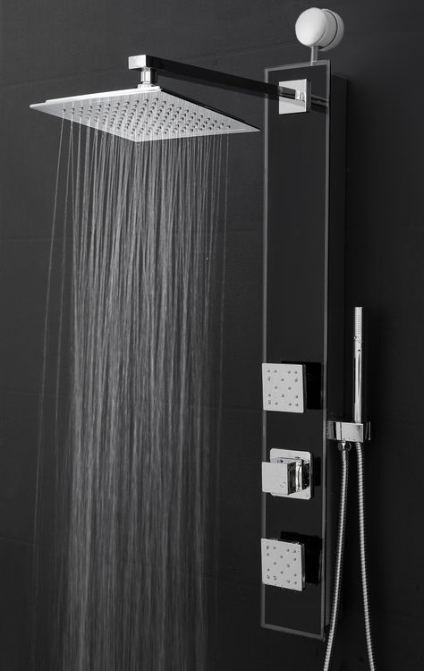Perfetto Kitchen and Bath 35 Easy Connect Wall Mount Tempered Glass Made Rainfall Style Multi-Function Massage Shower Panel Tower System SP0060