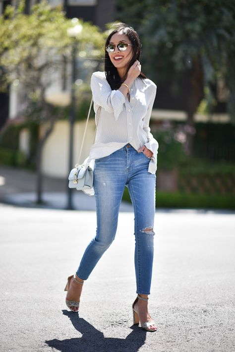 9fbf0a66f6ec justthedesign  A button up blouse is the ultimate choice for a smart casual  style which will give you a stunning summer style! Ann Taylor is looking  super ...