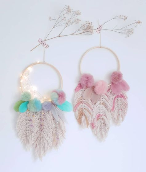 Mkono Macrame Wall Hanging Dream Catchers Handmade Feather Dreamcaters with Artificial Flowers Beads for Home Boho Decor Wedding Apartment Bedroom Living Room Gallery