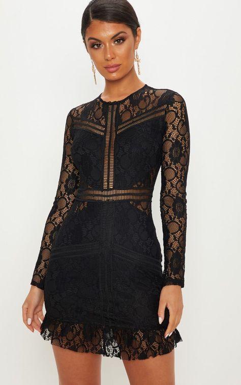 65db6a9f6df7 Long Sleeve Mesh Splicing Tassel Sequins Dress