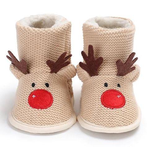 e89cdf7584c Raise Young Woolen Cartoon Elk Winter Warm Newborn Baby Girl Boots Soft  Soles Toddler Girl Christian Shoes Infant Booties