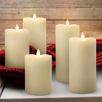 Mirage 5 Piece Led Candles The Look Of A Real Flame Led Candles Fake Candles Pillar Candles Fake candles that look real