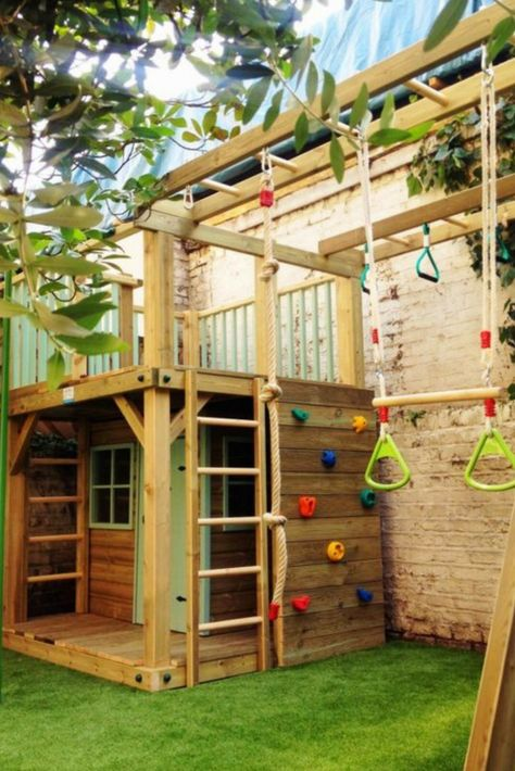 62 diy playground project ideas for backyard landscaping - All For Garden Backyard Swings, Backyard Playhouse, Backyard For Kids, Backyard Landscaping, Outdoor Playhouses, Playhouse Ideas, Outdoor Playset, Garden Kids, Landscaping Ideas
