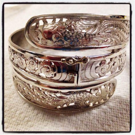 Vintage estate Ming's of Honolulu Triple Sterling Silver Phoenix bracelet 1950 's