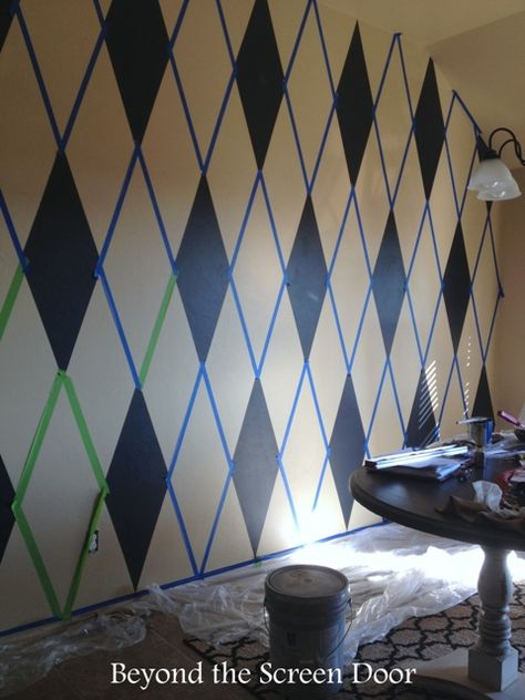 How to Paint a Harlequin Diamond Wall   Beyond the Screen Door