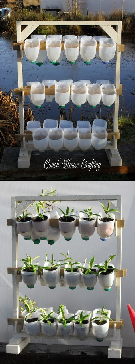 """Finally, a practical idea for all those milk jugs that accumulate!! **A Vertical Garden Using Plastic Milk Bottles** You could even make a """"wall"""" of sorts."""