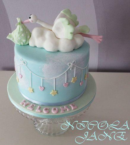 Baby showe christening on pinterest baby shower cakes for Baby shower stork decoration