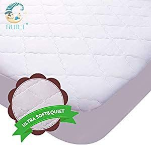 Ultra Soft Quiet Waterproof Crib Mattress Protector Quilted Fitted Baby Waterproof Mattress Pad With Extra Ultrasonic Padding High Absorbency Stain Protection Crib Mattress Cover For Stains Proof Mattress Covers Mattress Pad Crib Mattress
