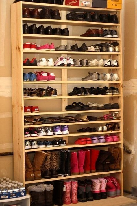 47 Awesome Shoe Rack Ideas In 2020 Concepts For Storing Your Shoes Garage Shoe Storage Homemade Shoe Rack Shoe Rack With Shelf