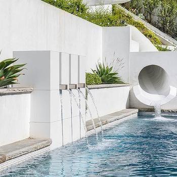 Modern Tunnel Pool Slide Pool Design Modern Backyard Pool Designs Pool Houses