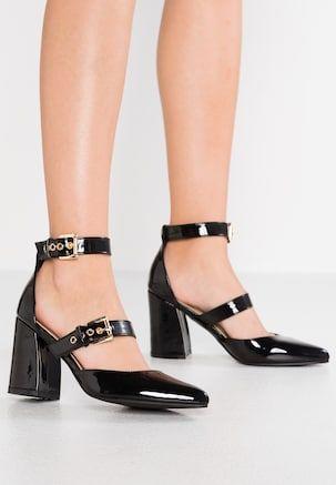 High Heel Pumps Black Damenschuhe Schuhe Frauen Blockabsatz Schuhe