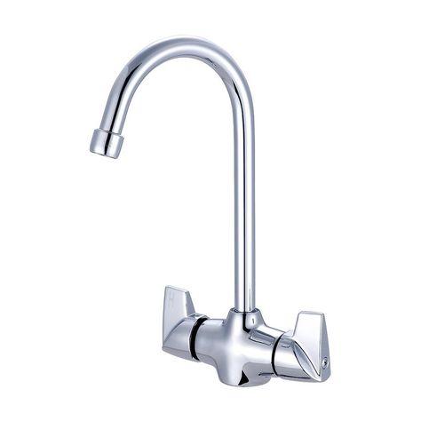 Central Brass Two Handle Bar Pantry Faucet 5 1 8 Gooseneck Rigid Spout Chrome Chrome Grey Chrome Faucet Chrome Finish