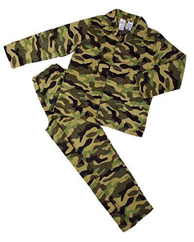 Mix Camouflage Khaki Army Flannel Pyjama Shirt Set Cotton Full Sleeves for Boys
