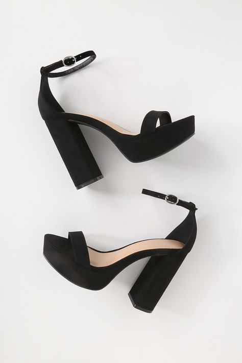 The party never stops when you step out in the Arrabella Black Vegan Suede Platform Ankle Strap Heels! Sexy platform heels with an ankle strap design.