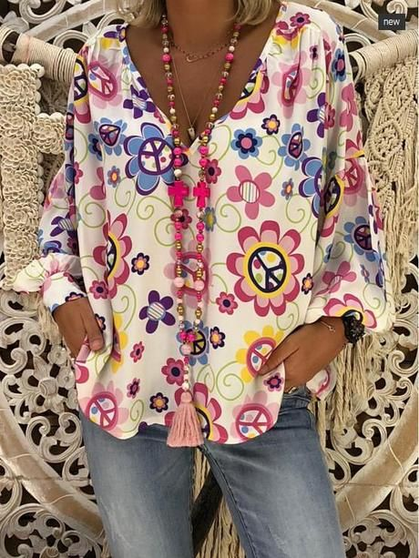Womens Tops XL,Blue Blouses for Women V-Neck Long Sleeve Casual Loose Tunic Tops T Shirt Blouse Mini Boho Floral Dress