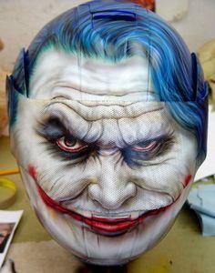 Custom Painted Joker from Batman Helmet - Airbrush Artwoks