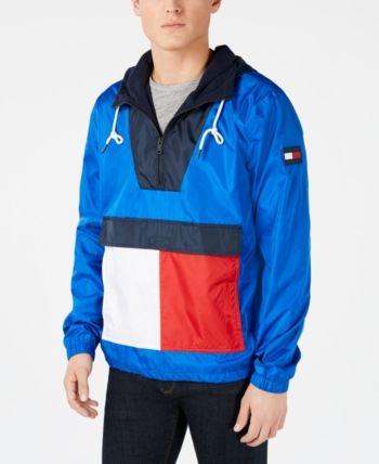 Tommy Hilfiger Men/'s Mazzarine Blue Colorblock Logo Fleece Lined Pullover Hoodie