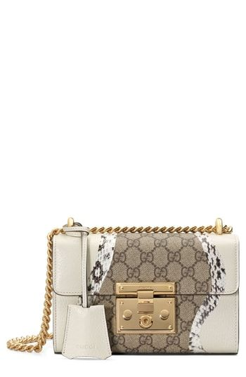 e01342346 Gucci Small Padlock GG Supreme Wave Shoulder Bag with Genuine Snakeskin Trim
