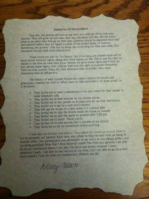 So in my Government class, we were given a project to write our own Declaration of Independence to separate ourselves from our parents. Loved doing it! Even burned the edges of parchment paper to make it look old. Great project for Seniors in high school to do!