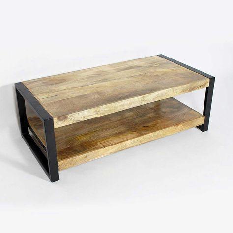 Table Basse Style Industriel Bois Massif Manguier Metal Noir