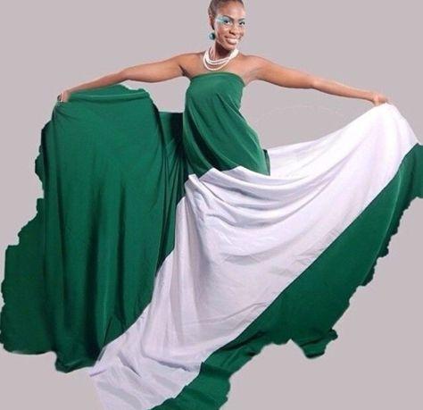 Happy 56th Independence Day Flag Dress Nigerian Flag Kids Designer Dresses