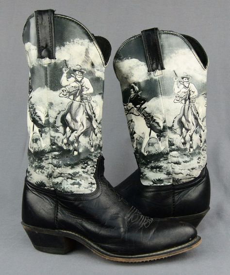 Women's 7.5M Durango Black Leather Novelty Printed Cowgirl Boots Cowboy Western…