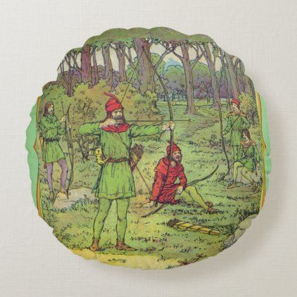 Robin Hood In The Forest Round Pillow Zazzle Com Round Pillow Zazzle Pillows Robin Hood