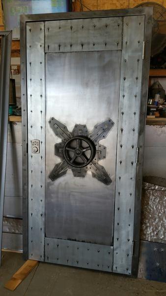 #027F   Custom Vintage Industrial Faux Vault Door U2022 Industrial Evolution  Furniture Co