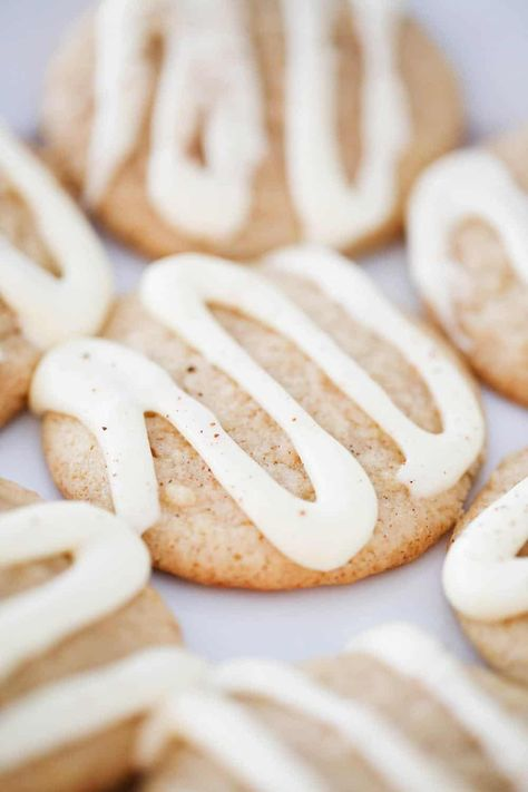 All the flavor of the classic holiday drink staple in a delicious cookie! These eggnog cookies are the perfect treat to bring to holiday parties this year. #eggnog #eggnogrecipes #eggnogcookies #cookies #cookierecipes #christmas #christmasrecipes #christmascookies #holiday #holidayrecipes #holidaybaking #recipes #iheartnaptime