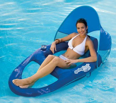 Swimways Spring Float Recliner Pool Lounge Chair W Sun Canopy 13022 And House