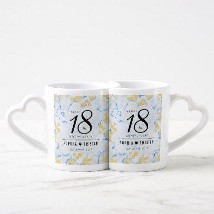 Elegant 18th Porcelain Wedding Anniversary Coffee Mug Set Template Gifts Custom Diy Customize Porcelain Wedding Marble Wedding Modern Wedding Gifts