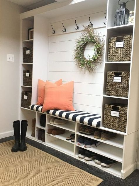 Mudroom Ideas - Repurposing a shelving device for a mudroom serves a double obje.,Mudroom Ideas - Repurposing a shelving device for a mudroom serves a double objective. The cubbies near the floor are excellent for saving footwear an. Asian Home Decor, Home Decor Ideas, Home Remodeling, Home Furniture, Repurposed Furniture, Rustic Furniture, Smart Furniture, Antique Furniture, Furniture Ideas